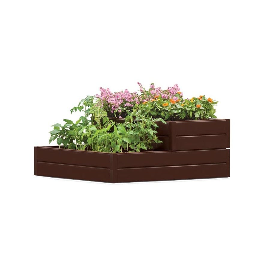 Suncast 48-in W x 48-in L x 18-in H Brown Resin Raised Garden Bed