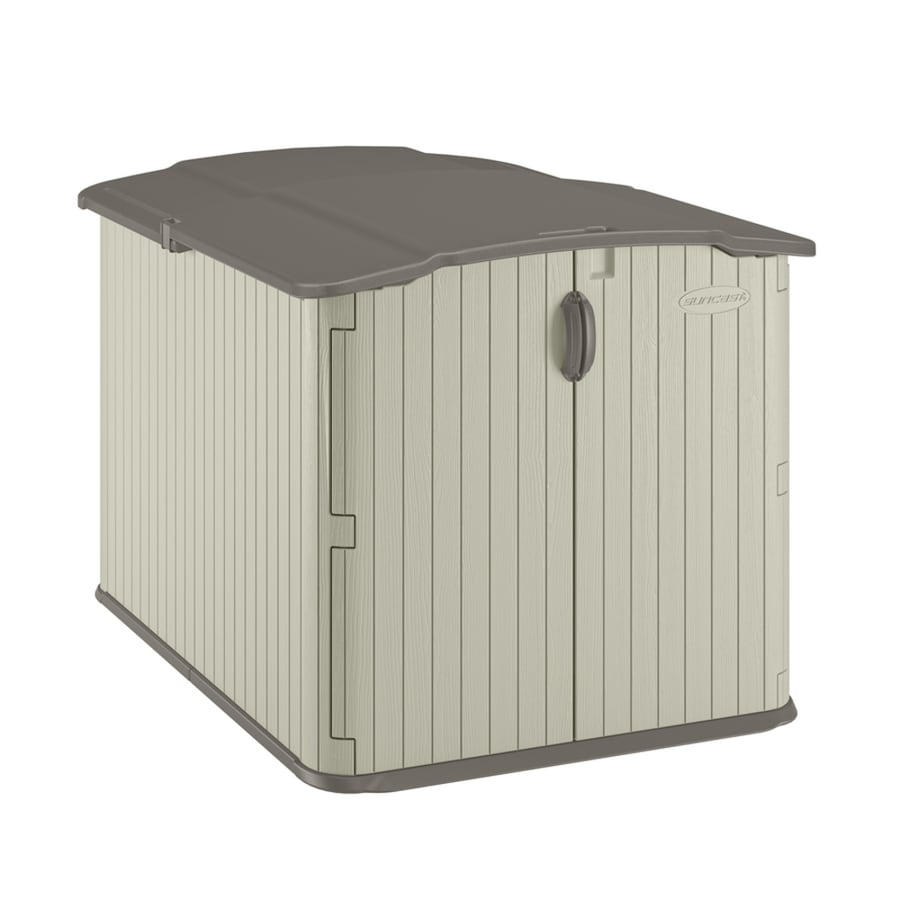 Shop suncast vanilla resin outdoor storage shed common for Resin garden shed
