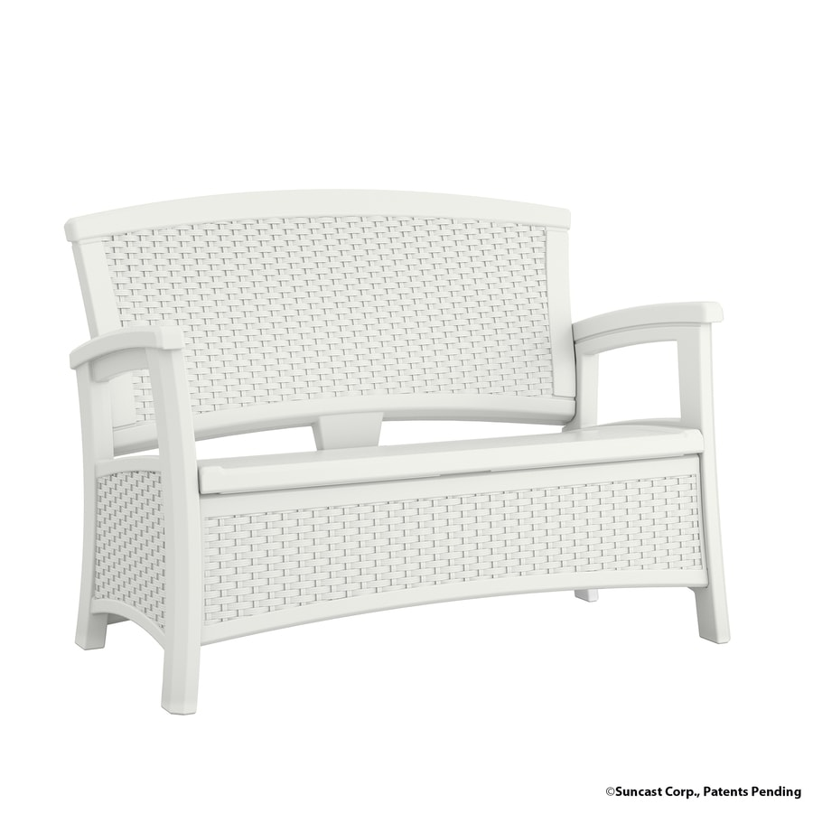 Suncast Suncast Elements 29.75-in W x 47-in L White Resin Patio Bench