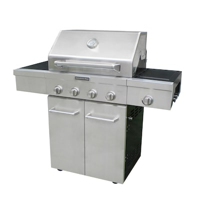 Stainless Steel/Black 4-Burner (48,000-BTU) Natural Gas or Liquid Propane  Gas Grill with Side Burner
