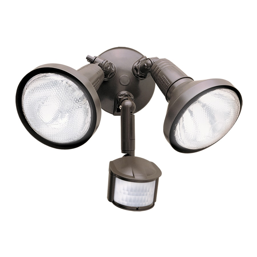 All-Pro 180-Degree 2-Head Bronze Halogen Motion-Activated Flood Light with Timer