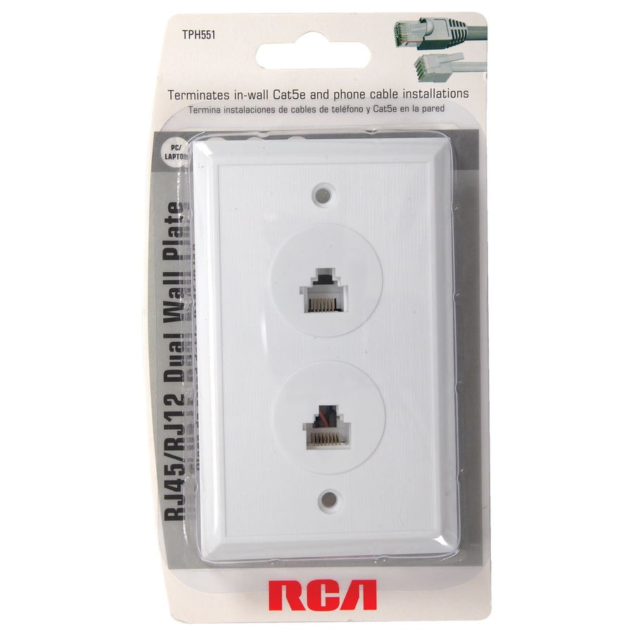rca white rj45 phone wall plate at. Black Bedroom Furniture Sets. Home Design Ideas