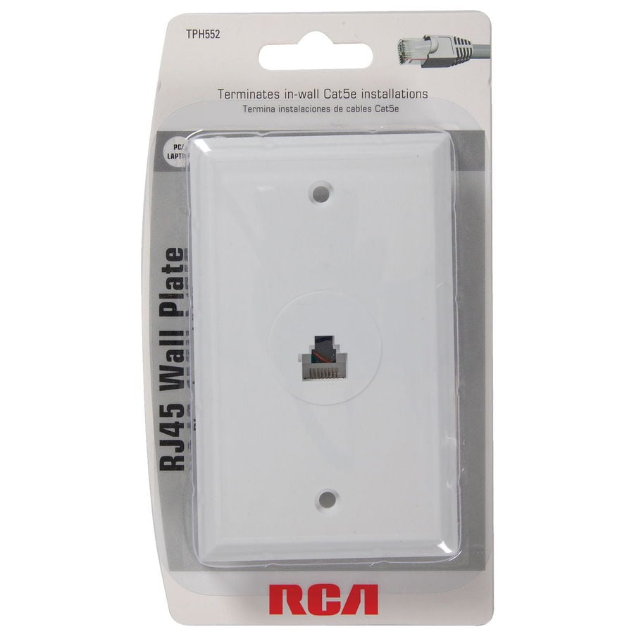 rca white rj45 wall plate at. Black Bedroom Furniture Sets. Home Design Ideas