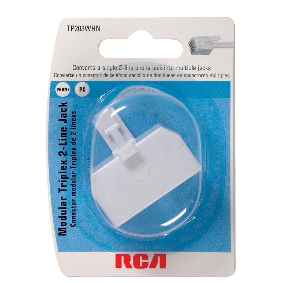 White 1 Plug, 3 Sockets RJ11 Phone Line Splitter//Separator//Adaptor for 2 lines