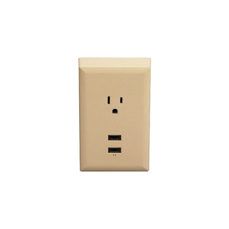 RCA Almond USB Wall Plate Charger with 2 USB Ports and Single Standard Outlet