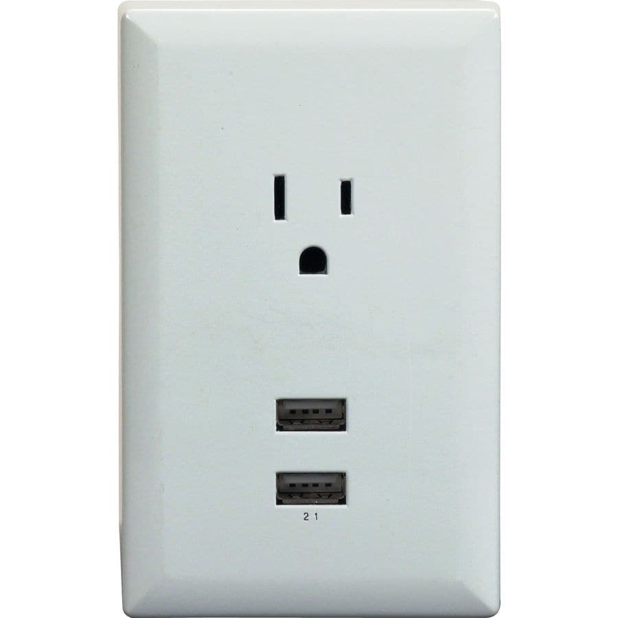 RCA White USB Wall Plate Charger with 2 USB Ports and Single Standard Outlet