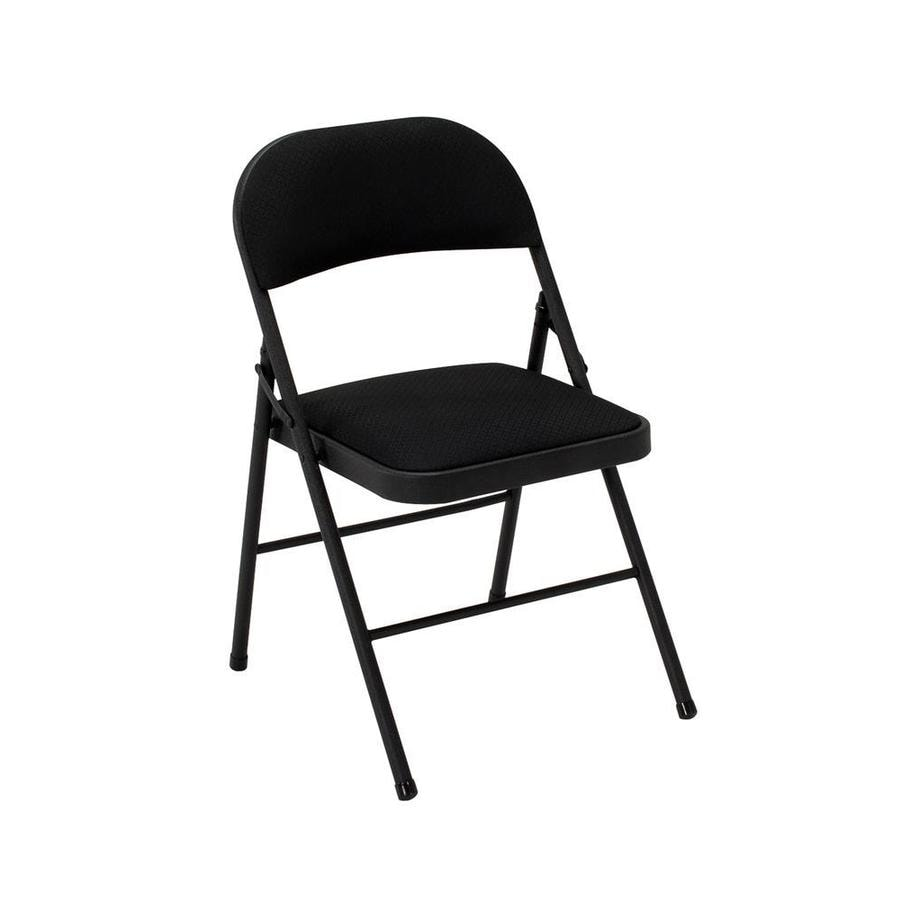 Cosco Set Of 4 Indoor Steel Black Fabric Padded Standard Folding Chairs