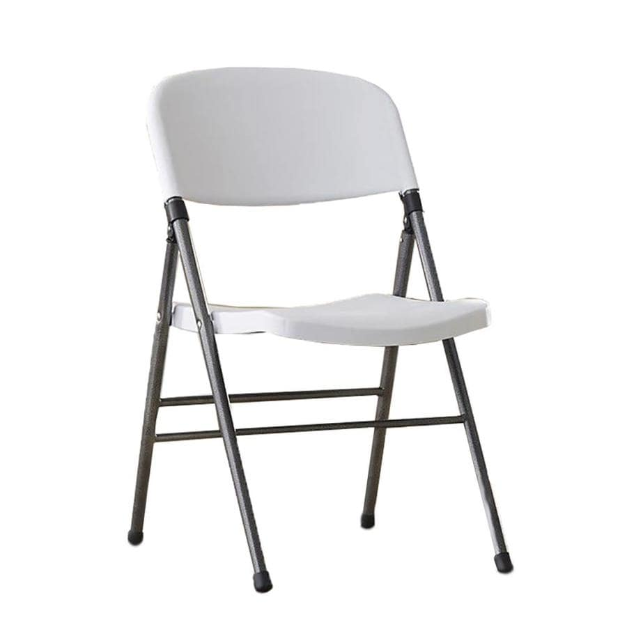 Cosco Set Of 4 Indoor Steel White Speckled Resin Standard Folding Chairs