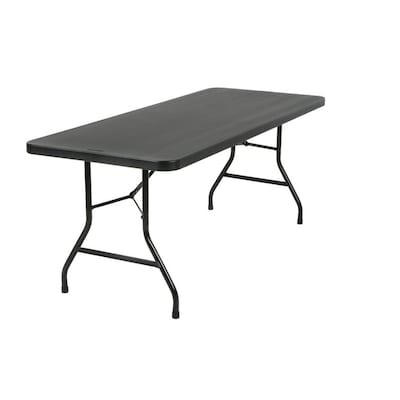 Astonishing 72 In X 29 6 In Indoor Only Rectangle Resin Black Folding Table Bralicious Painted Fabric Chair Ideas Braliciousco