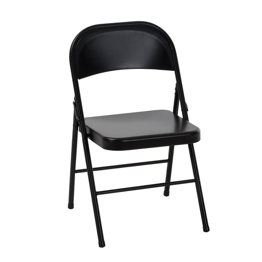 Cosco Indoor Black Metal Steel Solid Standard Folding Chair In The Folding Chairs Department At Lowes Com