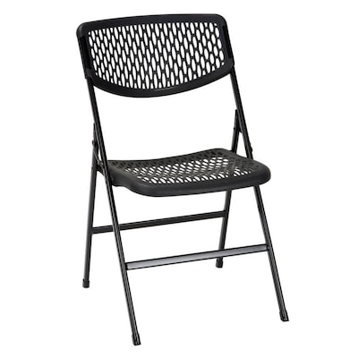 Prime Indoor Black Plastic Mesh Standard Folding Chair Beatyapartments Chair Design Images Beatyapartmentscom