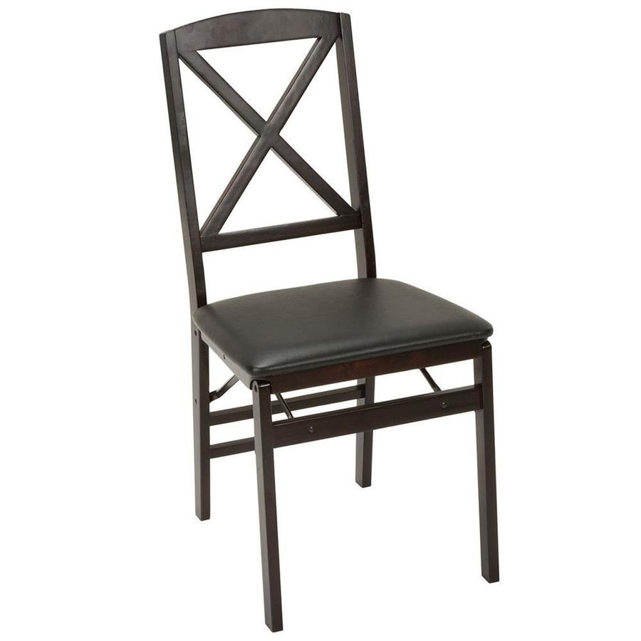 Cosco Set Of 2 Indoor Wood Espresso Wood with Vinyl Seat and x Back Standard Folding Chairs