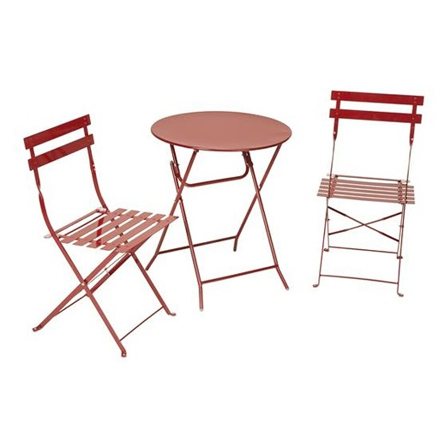 Cosco 3-Piece Red Steel Dining Patio Dining Set