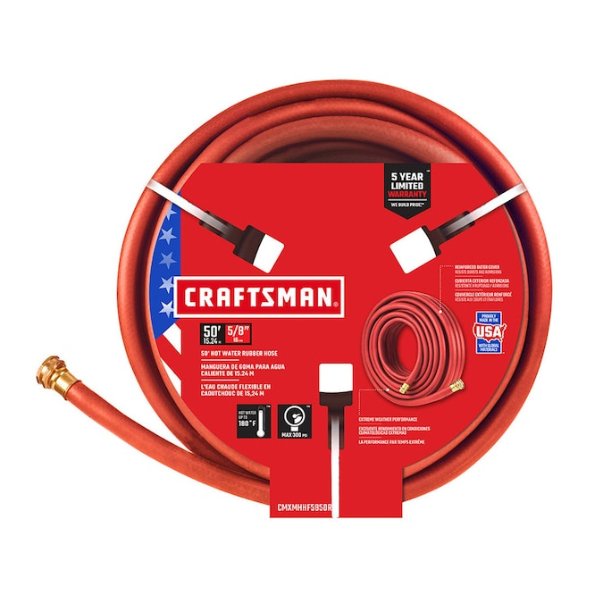 Craftsman Craftsman 5 8 In X 50 Ft Premium Duty Rubber Red Hose In The Garden Hoses Department At Lowes Com