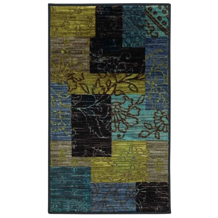 Style Selections Bickerton Blue Rectangular Indoor Tufted Throw Rug
