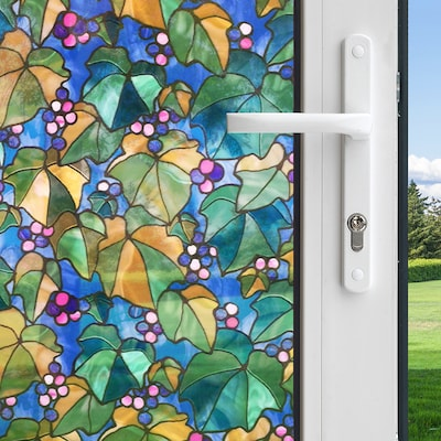 Decorative Window Film Lowes.Decorative 36 In W X 6 1 2 Ft L Multi Colored Grape Vine Privacy Decorative Window Film