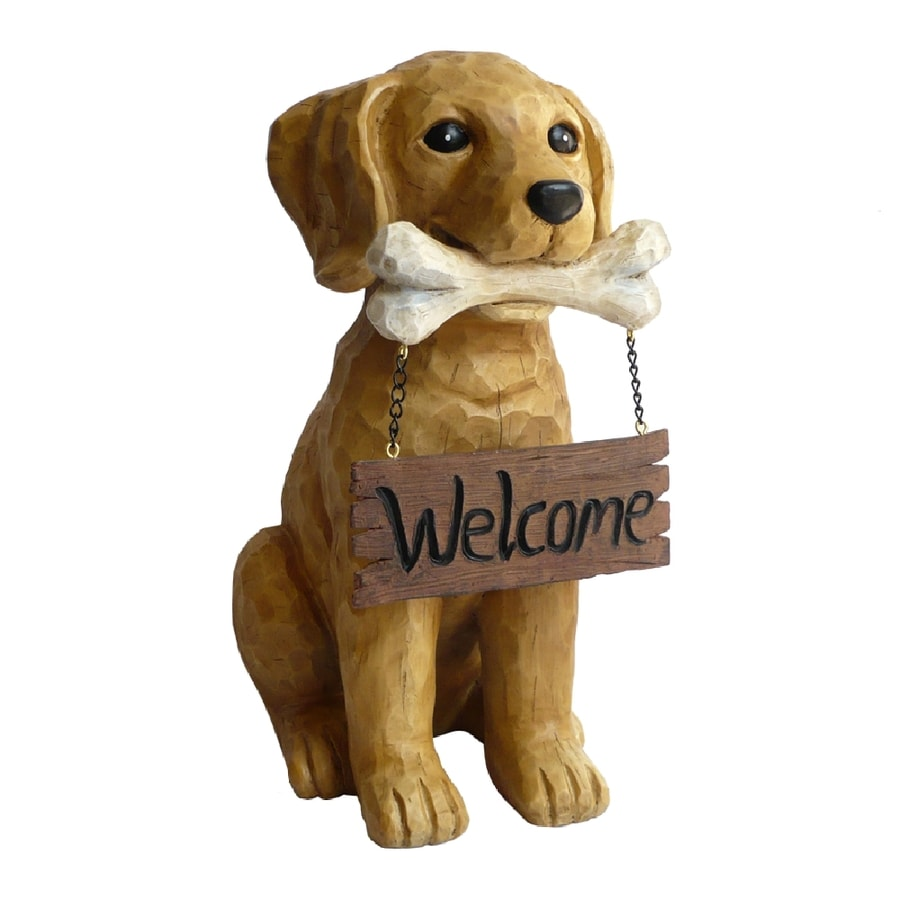 """Shop 13.5""""H Dog with Welcome Sign Garden Statue at Lowes.com"""