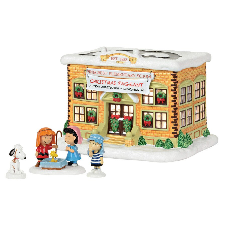 Peanuts Lighted Musical Peanuts House with Constant White Incandescent Lights