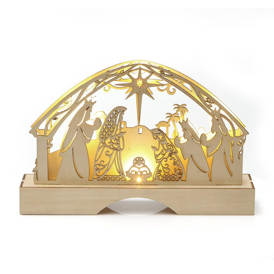Enesco Pre-Lit Nativity Candle with Constant White LED Lights