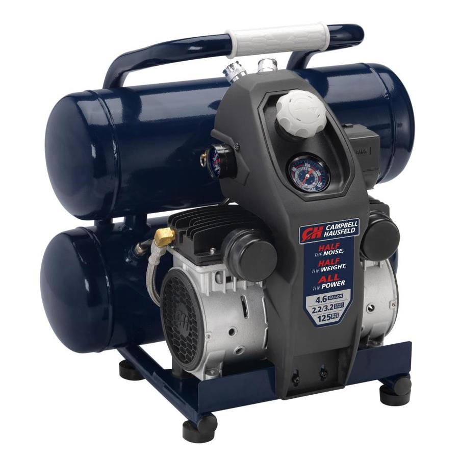 Campbell Hausfeld Campbell Hausfeld Portable Quiet Air Compressor, Lightweight 4.6 Gallon Twinstack, Half the Noise and, All the Power (DC040500)