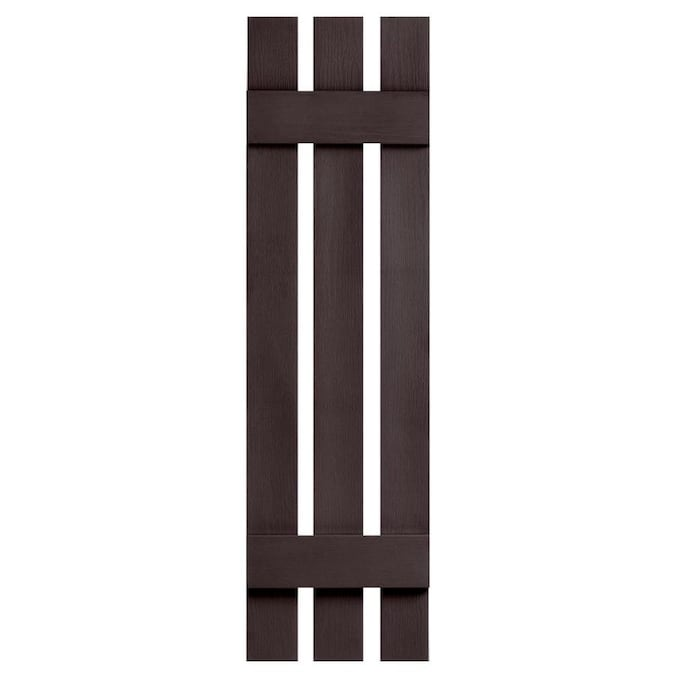 Alpha 2 Pack 12 38 In W X 35 In H Chocolate Board And Batten Vinyl Exterior Shutters In The