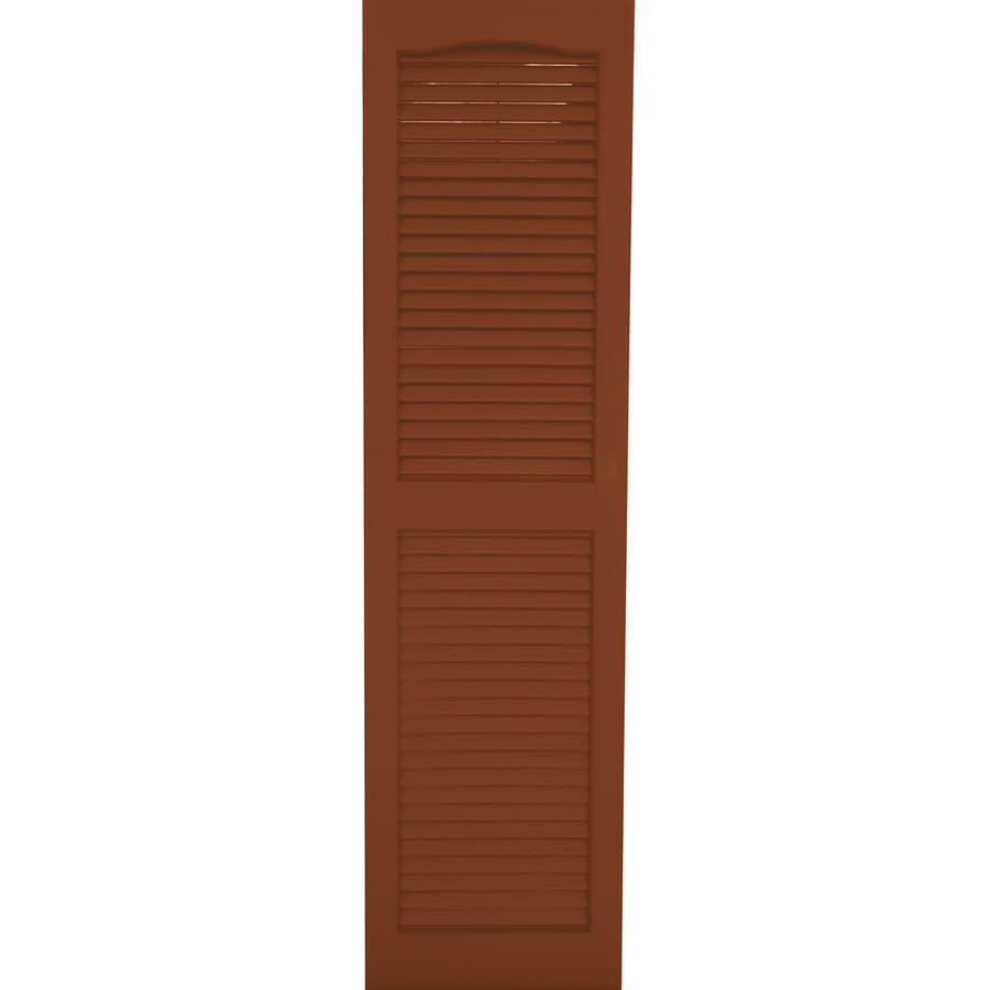 Severe Weather 2-Pack Earthen Red Louvered Vinyl Exterior Shutters (Common: 15-in x 25-in; Actual: 14.5-in x 24.5-in)