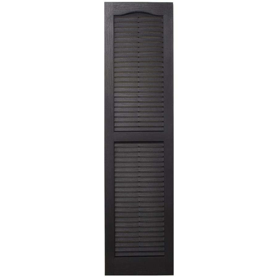Severe Weather 2-Pack Black Louvered Vinyl Exterior Shutters (Common: 15-in x 31-in; Actual: 14.5-in x 30.5-in)