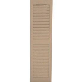 Shop Severe Weather 2 Pack Sandstone Louvered Vinyl Exterior Shutters Common 15 In X 43 In