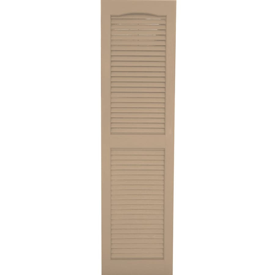Severe Weather 2-Pack Sandstone Louvered Vinyl Exterior Shutters (Common: 15-in x 55-in; Actual: 14.5-in x 54.5-in)