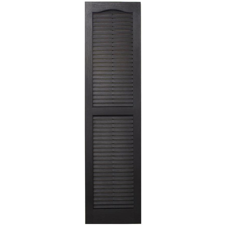 Severe Weather 2-Pack Black Louvered Vinyl Exterior Shutters (Common: 15-in x 75-in; Actual: 14.5-in x 74.5-in)