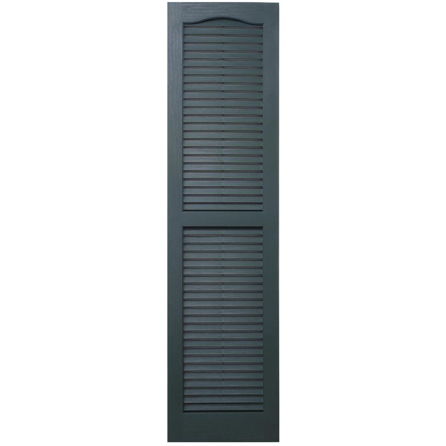 Severe Weather 2-Pack Heritage Green Louvered Vinyl Exterior Shutters (Common: 15-in x 75-in; Actual: 14.5-in x 74.5-in)