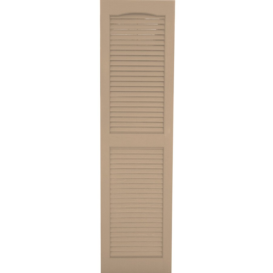 Severe Weather 2-Pack Sandstone Louvered Vinyl Exterior Shutters (Common: 15-in x 75-in; Actual: 14.5-in x 74.5-in)