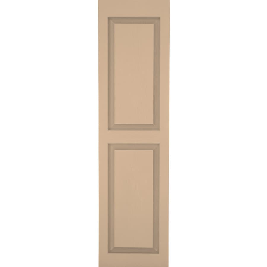 Severe Weather 2-Pack Sandstone Raised Panel Vinyl Exterior Shutters (Common: 15-in x 31-in; Actual: 14.5-in x 30.5-in)