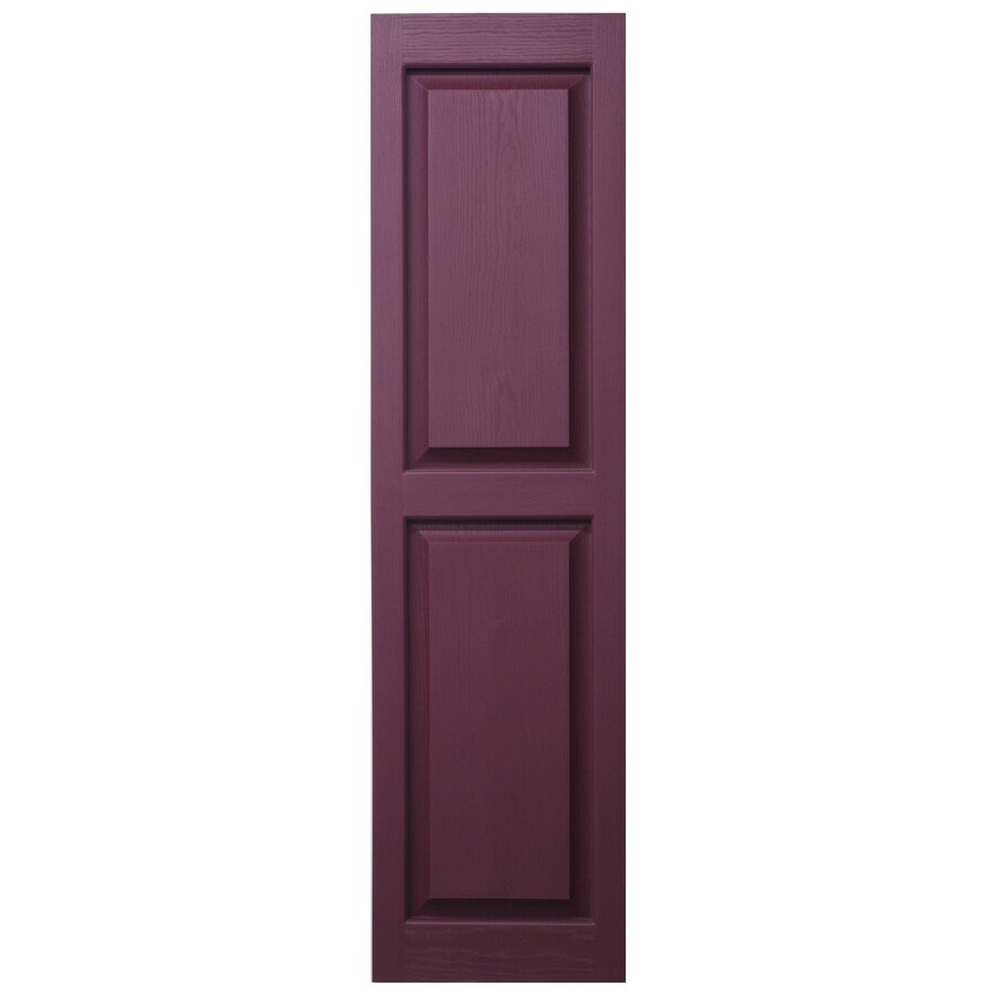 Severe Weather 2-Pack Bordeaux Raised Panel Vinyl Exterior Shutters (Common: 15-in x 35-in; Actual: 14.5-in x 34.5-in)