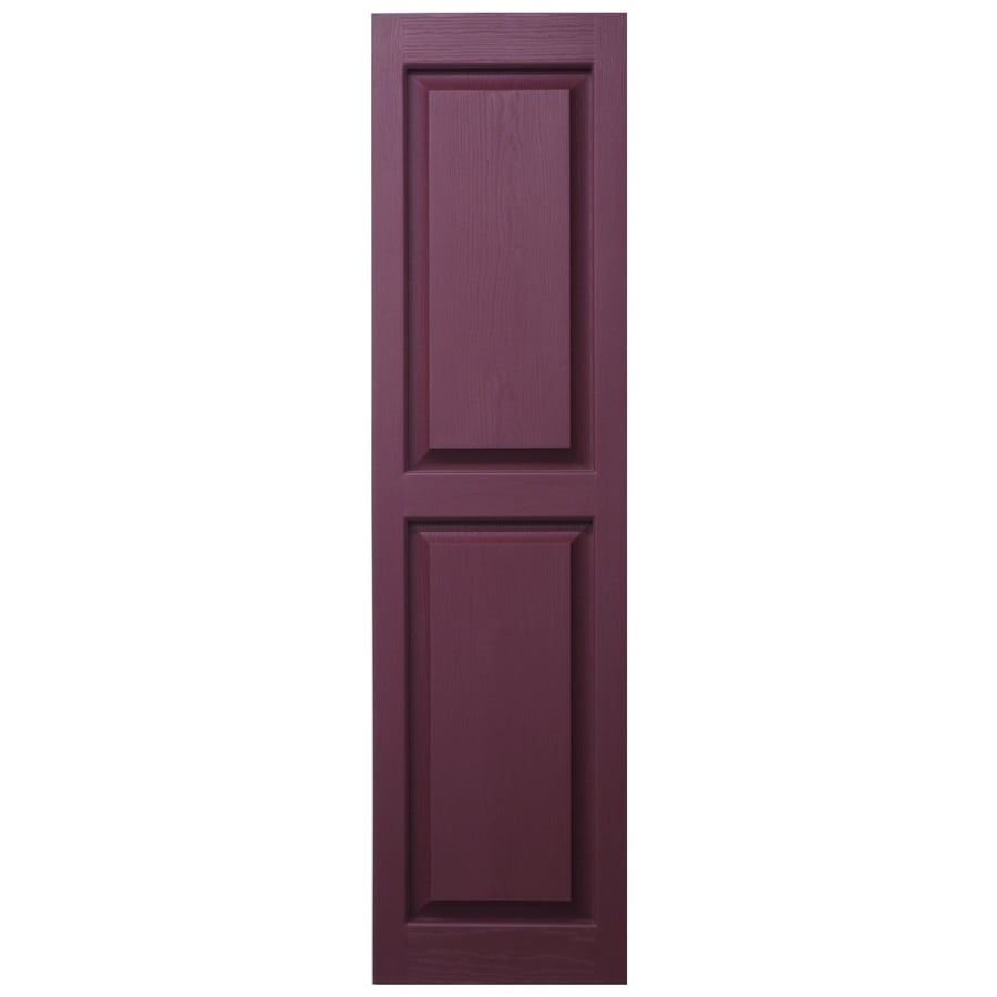 Severe Weather 2-Pack Bordeaux Raised Panel Vinyl Exterior Shutters (Common: 15-in x 43-in; Actual: 14.5-in x 42.5-in)