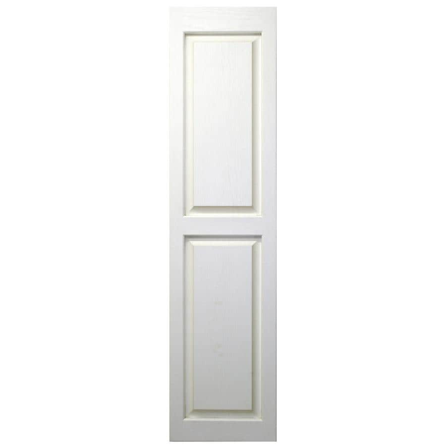 Severe Weather 2-Pack White Raised Panel Vinyl Exterior Shutters (Common: 15-in x 43-in; Actual: 14.5-in x 42.5-in)