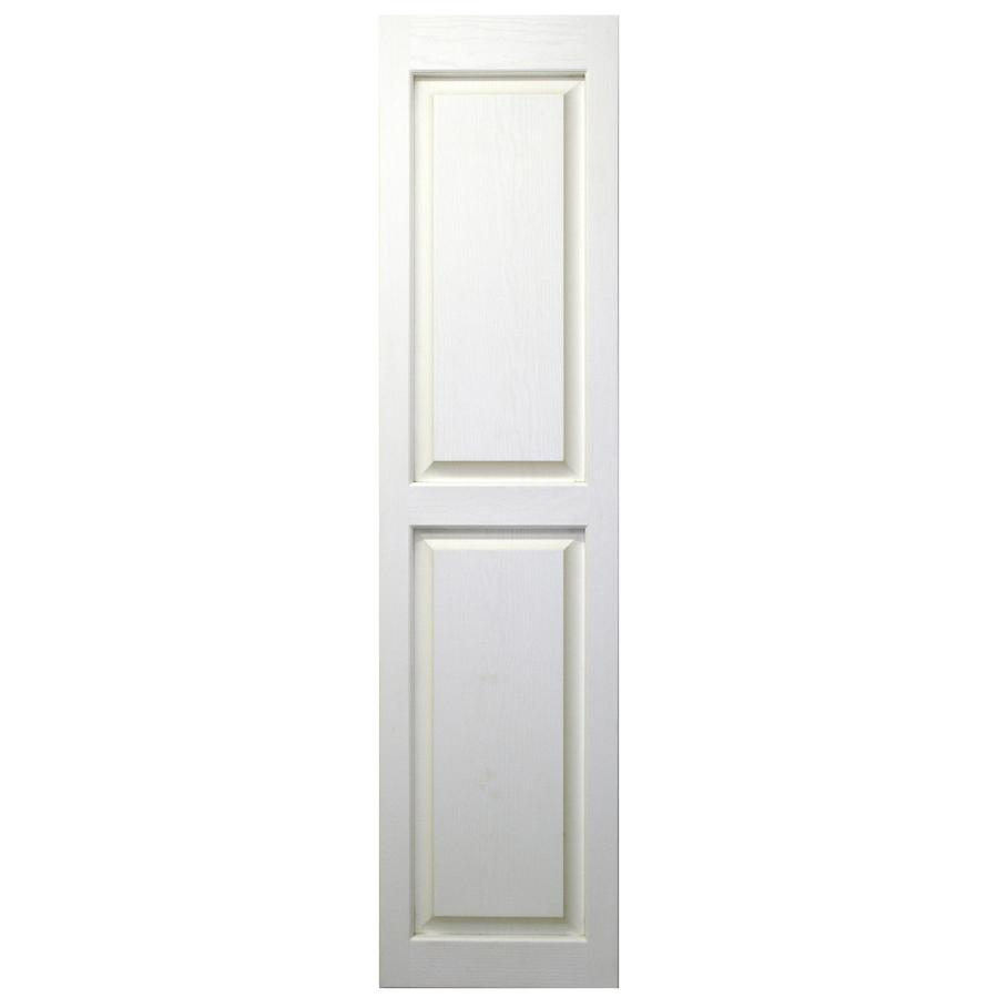 Severe Weather 2-Pack White Raised Panel Vinyl Exterior Shutters (Common: 15-in x 63-in; Actual: 14.5-in x 62.5-in)