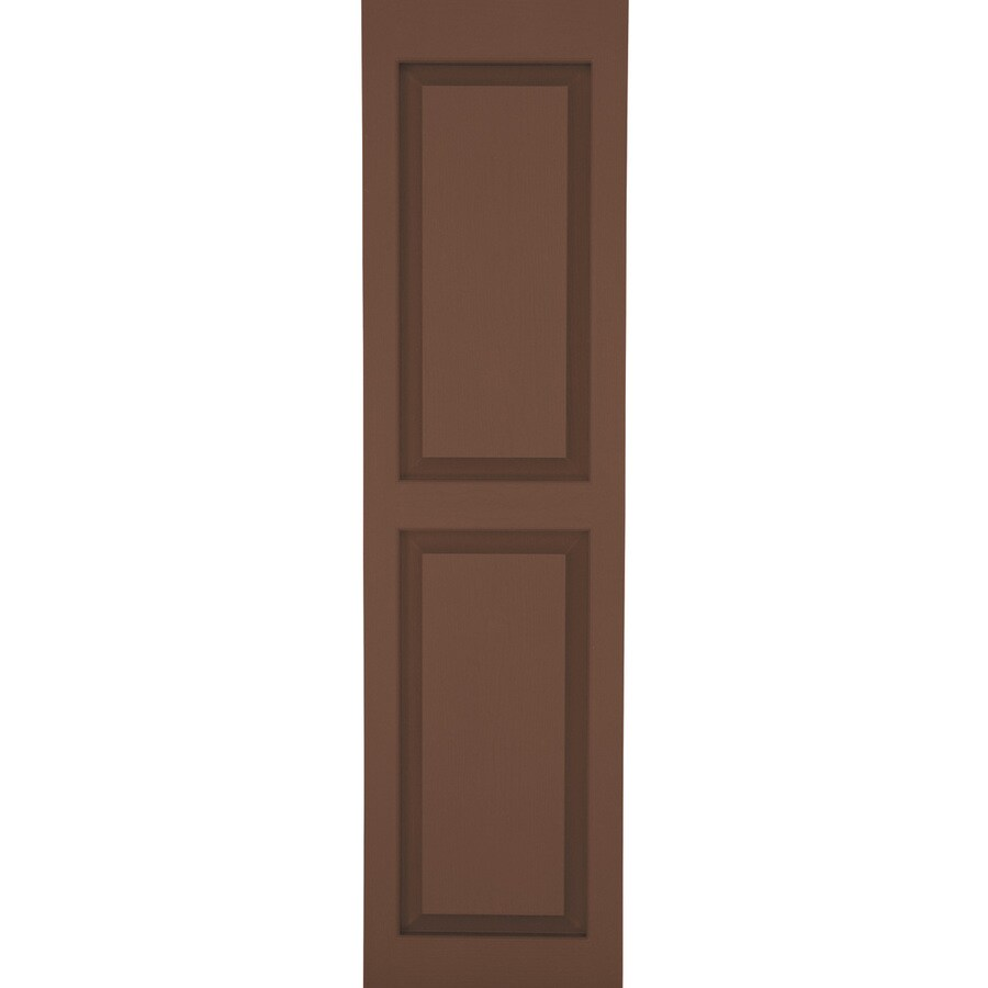 Severe Weather 2-Pack Brown Raised Panel Vinyl Exterior Shutters (Common: 15-in x 75-in; Actual: 14.5-in x 74.5-in)