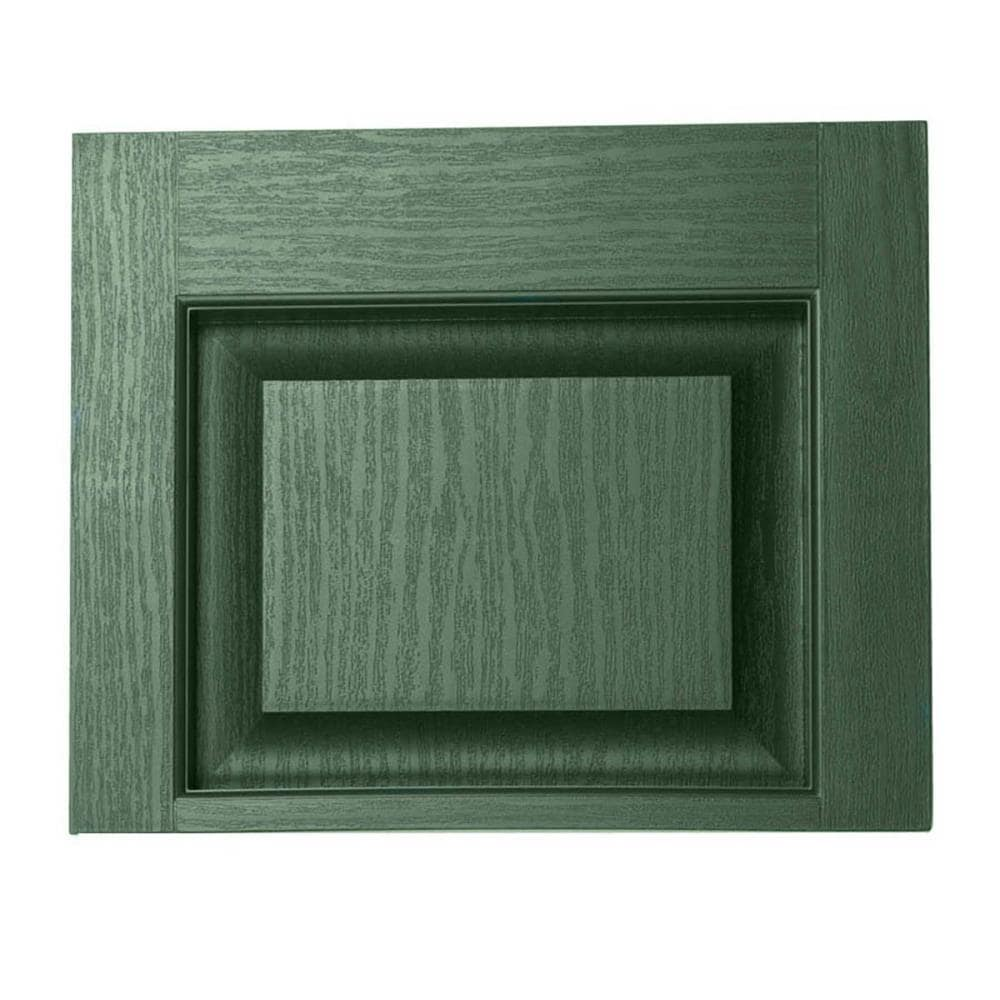 Severe Weather 2-Pack Heritage Green Raised Panel Vinyl Exterior Shutters (Common: 15-in x 12-in; Actual: 14.5-in x 11.875-in)