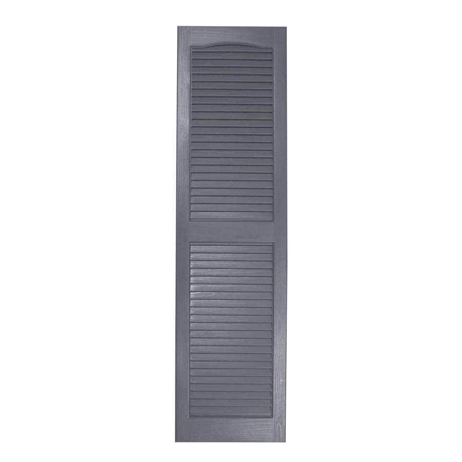 Severe Weather 2-Pack Granite Louvered Vinyl Exterior Shutters (Common: 15-in x 25-in; Actual: 14.5-in x 24.5-in)