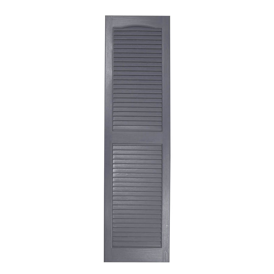Severe Weather 2-Pack Granite Louvered Vinyl Exterior Shutters (Common: 15-in x 35-in; Actual: 14.5-in x 34.5-in)