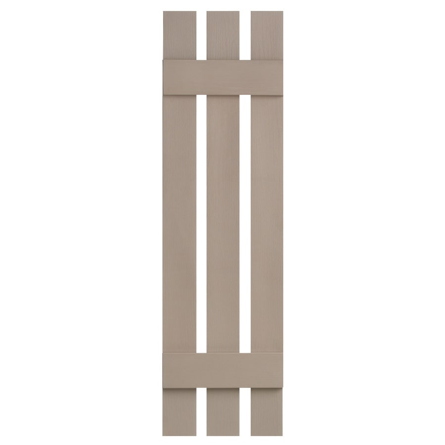 Severe Weather 2-Pack Sandstone Board and Batten Vinyl Exterior Shutters (Common: 12-in x 35-in; Actual: 12.38-in x 35-in)