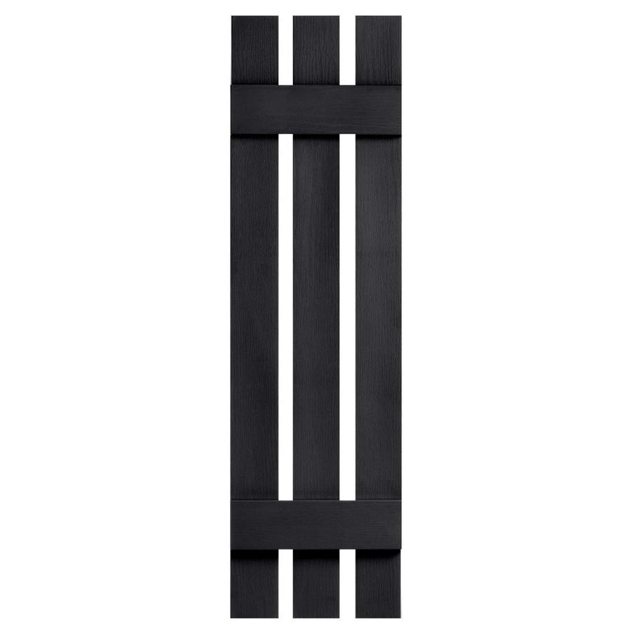 Severe Weather 2-Pack Black Board and Batten Vinyl Exterior Shutters (Common: 12-in x 47-in; Actual: 12.38-in x 47-in)
