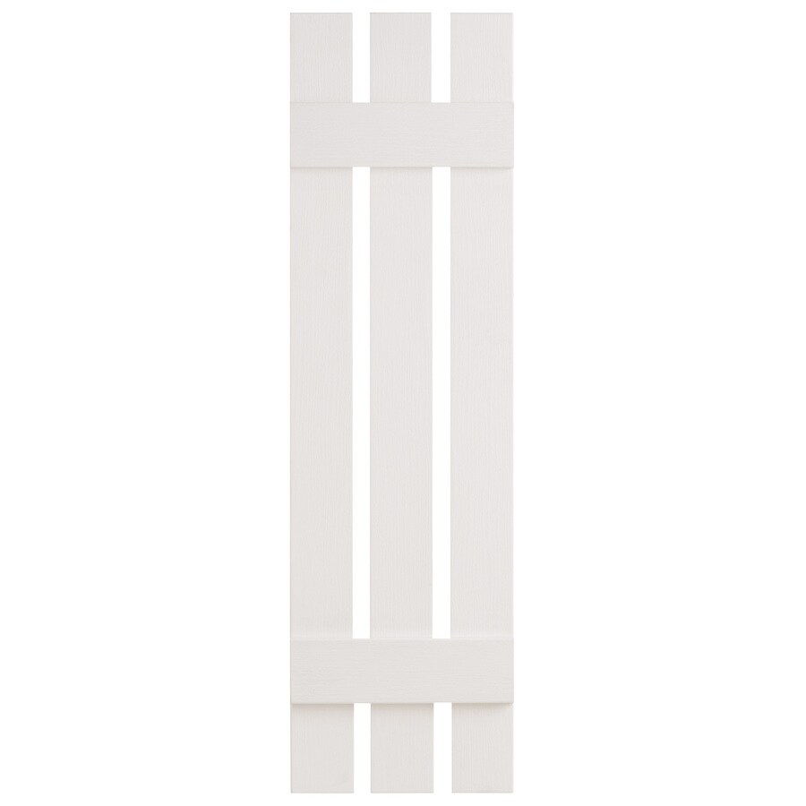 Severe Weather 2-Pack White Board and Batten Vinyl Exterior Shutters (Common: 12-in x 47-in; Actual: 12.38-in x 47-in)