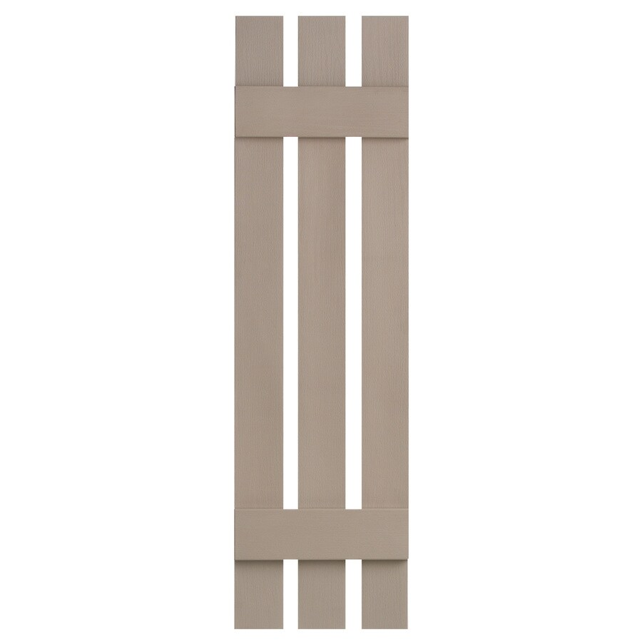 Severe Weather 2-Pack Sandstone Board and Batten Vinyl Exterior Shutters (Common: 12-in x 51-in; Actual: 12.38-in x 51-in)