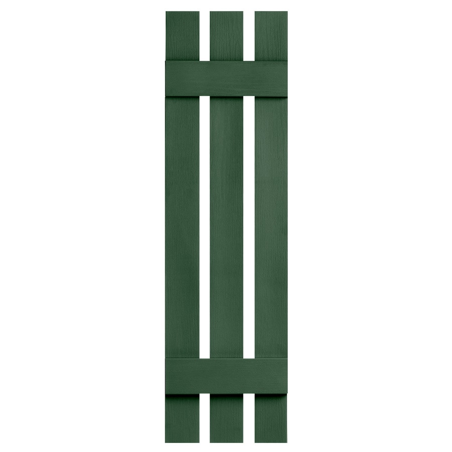 Severe Weather 2-Pack Heritage Green Board and Batten Vinyl Exterior Shutters (Common: 12-in x 51-in; Actual: 12.38-in x 51-in)