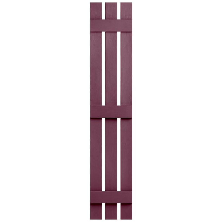 Severe Weather 2-Pack Bordeaux Board and Batten Vinyl Exterior Shutters (Common: 12-in x 55-in; Actual: 12.38-in x 55-in)