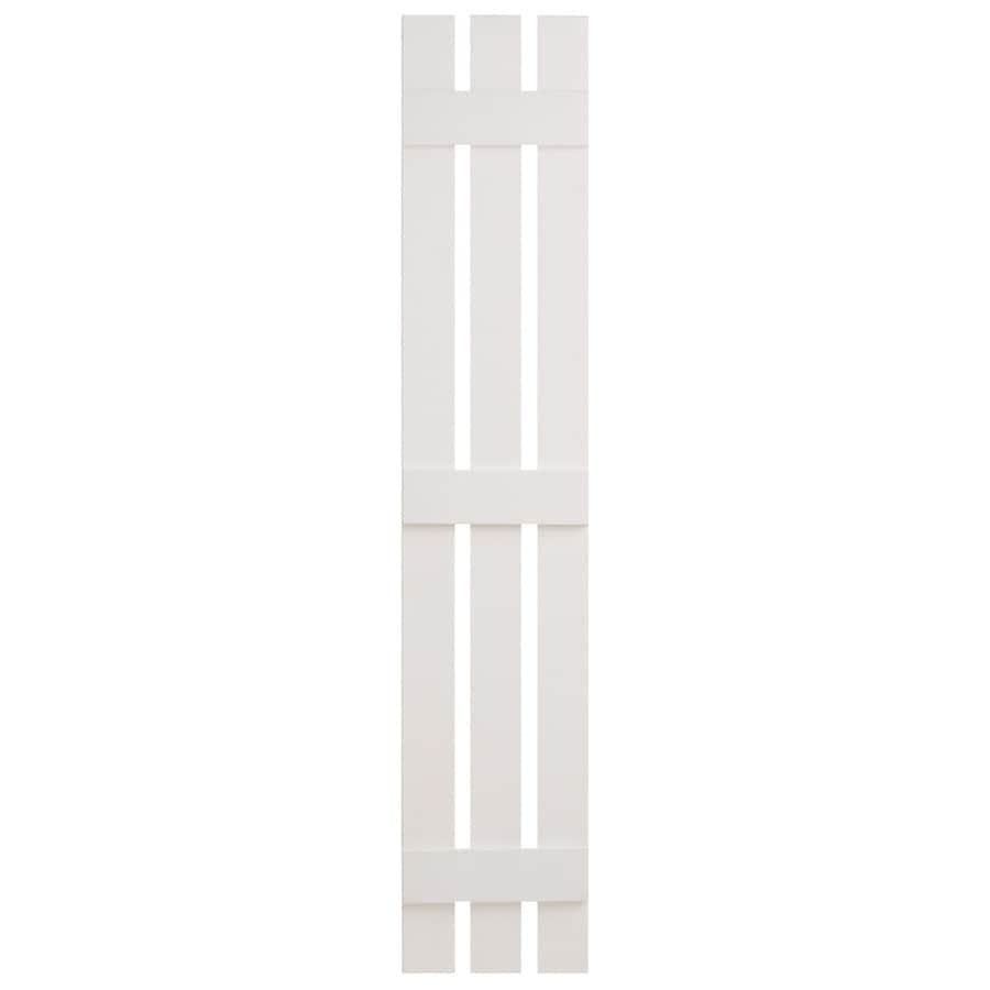 Severe Weather 2-Pack White Board and Batten Vinyl Exterior Shutters (Common: 12-in x 63-in; Actual: 12.38-in x 63-in)
