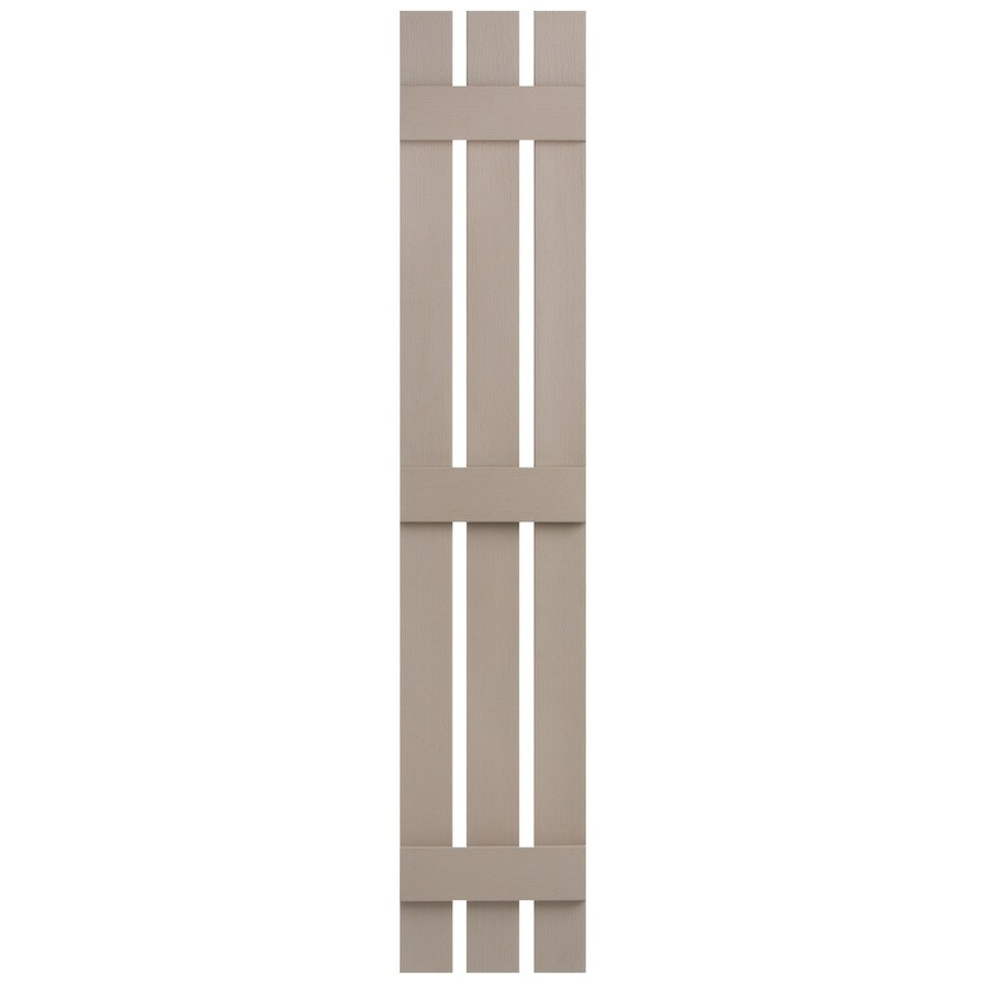 Severe Weather 2-Pack Sandstone Board and Batten Vinyl Exterior Shutters (Common: 12-in x 63-in; Actual: 12.38-in x 63-in)