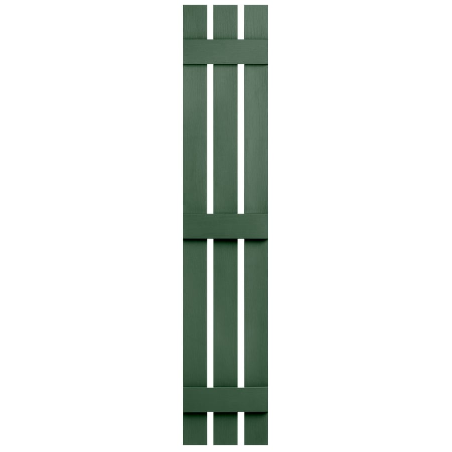 Severe Weather 2-Pack Heritage Green Board and Batten Vinyl Exterior Shutters (Common: 12-in x 63-in; Actual: 12.38-in x 63-in)